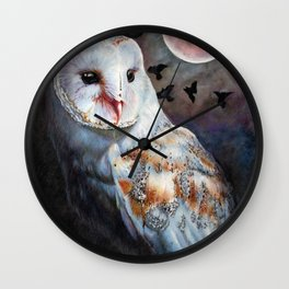 Owl Of The Blood Moon Heart Wall Clock