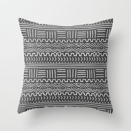Mud Cloth on Gray Throw Pillow