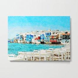 Watercolor Little Venice in Mykonos Metal Print
