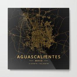 Aguascalientes, Mexico - Gold Metal Print