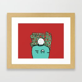 Spaceman and Speakers/Red Framed Art Print