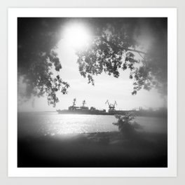 Watching the boats of Norfolk - Black and White Film Photograph Art Print