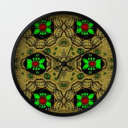 Namaste gold and florals in popart Wall Clock
