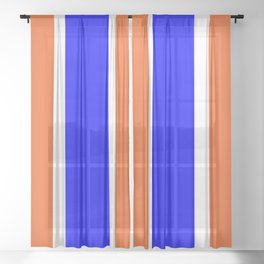 TEAM COLORS 10....ORANGE AND BLUE Sheer Curtain