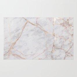White Italian Marble & Gold Rug