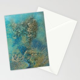 Blue And Gold Modern Abstract Art Painting Stationery Cards