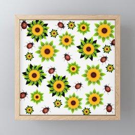 Fleurs et coccinelles Framed Mini Art Print