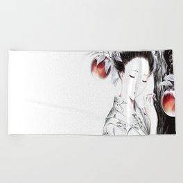 Girl_In_Kimono Beach Towel