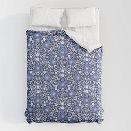Rose Hip Folk Floral Pattern Blue Duvet Cover