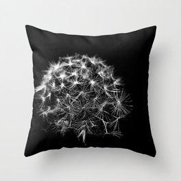 Black & White Dandelion Head Throw Pillow
