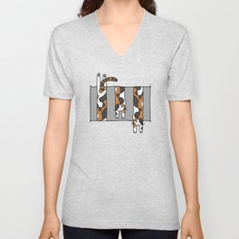 Dangling Calico Cat Unisex V-Neck