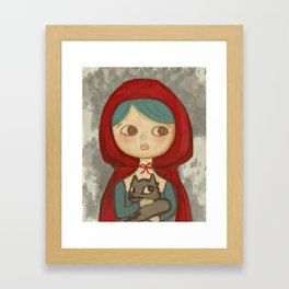 The Little Wolf - Quirky Hand Hand Drawn San Jones Illustration  Framed Art Print