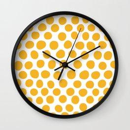 Honey Gold Dots - White Wall Clock