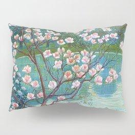 Springtime Pink Magnolias by the Kettle Pond landscape by Wilhelm List Pillow Sham