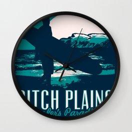montauk ditch plains vintage surf poster Wall Clock