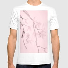 Flower branches on a pastel pink background - spring mood Mens Fitted Tee MEDIUM White