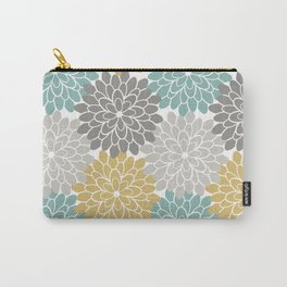 Pastel Petals in Light Amber, Light Opal, Pale and Dark Grey Carry-All Pouch
