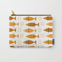 Mid Century Modern Fish Pattern Orange Carry-All Pouch