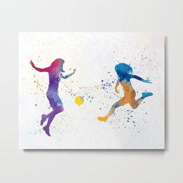 Women soccer players 01 in watercolor Metal Print