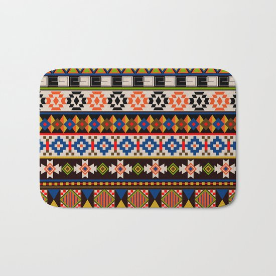 Colourful tribal Aztec patterns Bath Mat
