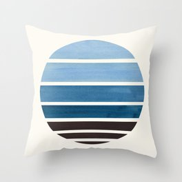 Blue Green Mid Century Modern Minimalist Circle Round Photo Staggered Sunset Geometric Stripe Design Throw Pillow