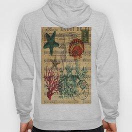 french botanical art music notes starfish seashell Hoody
