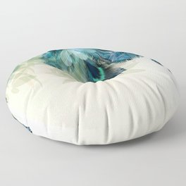 Beautiful Peacock Feathers Floor Pillow
