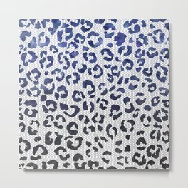 Modern navy blue black watercolor ombre leopard lace pattern Metal Print