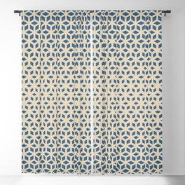 Blue & Beige Gradient Tessellation Cubism Pattern Inspired by Chinese Porcelain PPG1160-6 Blackout Curtain