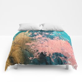Coral Reef [1]: colorful abstract in blue, teal, gold, and pink Comforters