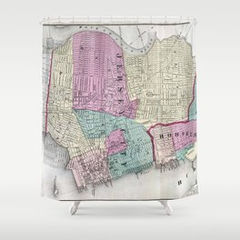 Vintage Map of Jersey City, Hoboken & Weehawken NJ Shower Curtain