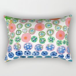 Playful Green Stars and Colorful Circles Pattern Rectangular Pillow