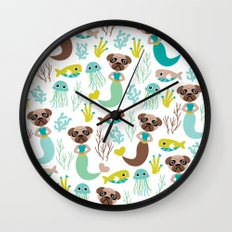 Quirky pugs and mermaids under water world Wall Clock
