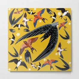Swallows and swift pattern in yellow Metal Print