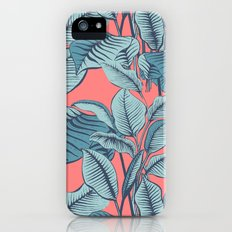 Pink Exotic Tropical Banana Palm Leaf Print iPhone SE Slim Case