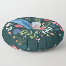 Folk Art Inspired Hummingbird With A Flurry Of Flowers Floor Pillow