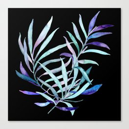 Tropical Plant Collage on Black   Rainbow Foliage in Watercolor  Renee Davis Canvas Print