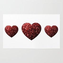 Red Glitter sparkles Heart on white Rug