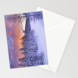 II - Sunrise over a river in winter near Levi, Finnish Lapland Stationery Cards