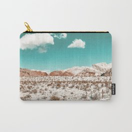 Vintage Desert Snow // Mojave Mountain Range at Red Rock Canyon in Las Vegas Landscape Photograph Carry-All Pouch