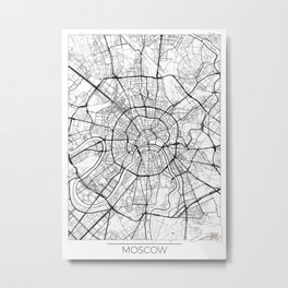Moscow Map White Metal Print