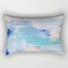 Electric blue waves: minimal, acrylic abstract painting in cobalt, cyan and peach / Variation Two Rectangular Pillow