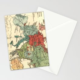 Vintage Linguistic Map of Europe (1907) Stationery Cards