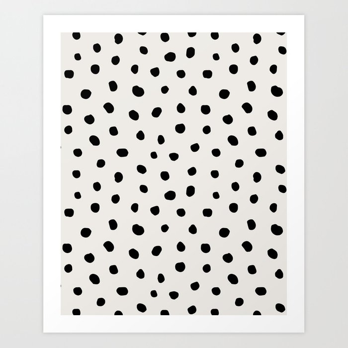 Modern Polka Dots Black on Light Gray Kunstdrucke