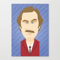will ferrell Canvas Prints featuring Will Ferrell as Ron Burgundy by Leo Maia
