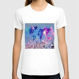 world map city skyline galaxy T-shirt