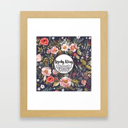 Pretty Floral Pattern with Lovely Day Typography Framed Art Print