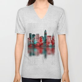 Cleveland Ohio Skyline Unisex V-Neck