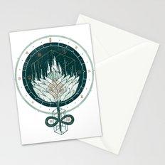 White Dahlia Stationery Cards