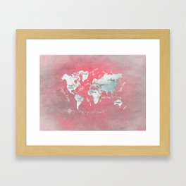 world map 143 red white #worldmap #map Framed Art Print